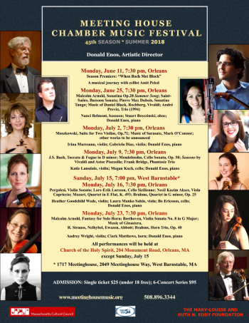 Meeting House Chamber Music Festival 2018 Summer Season