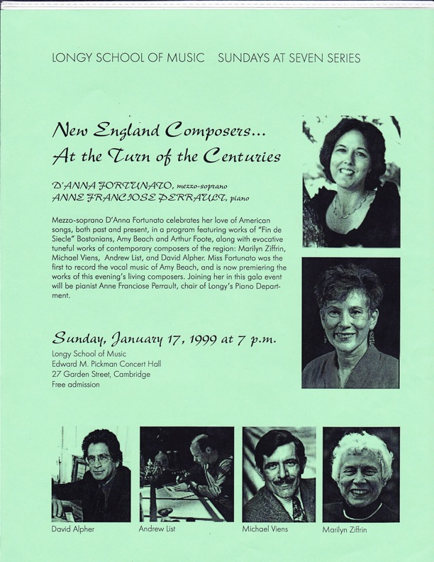 New England Composers' Concert with D'Anna Fortunato and Anne Franciose Perrault
